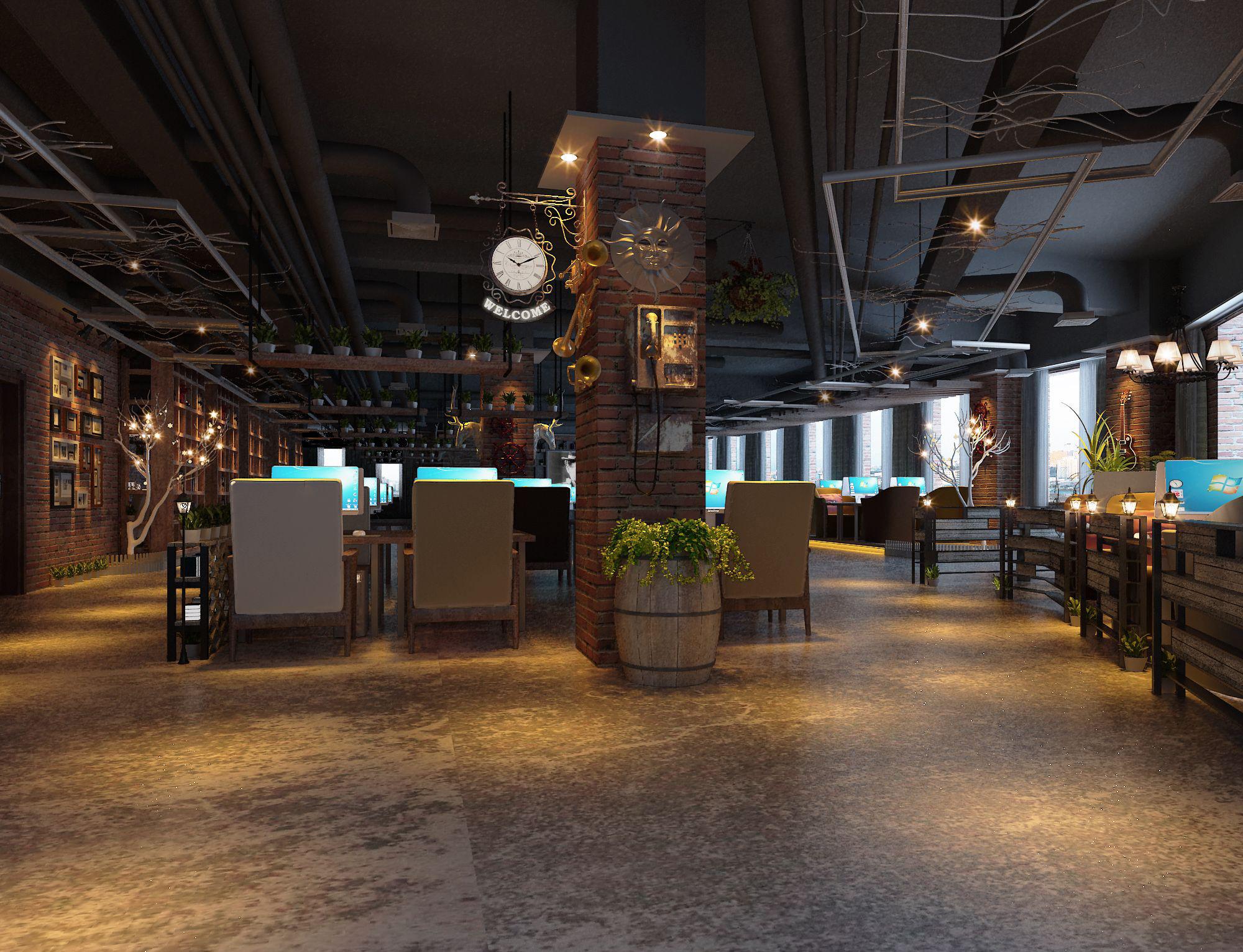 深圳网鱼网吧装饰设计案例